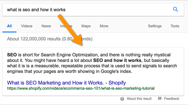 "featured snippet, Google featured snippet: how to get the ""zero position"""