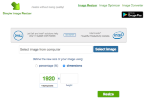 Dimensions of image resize