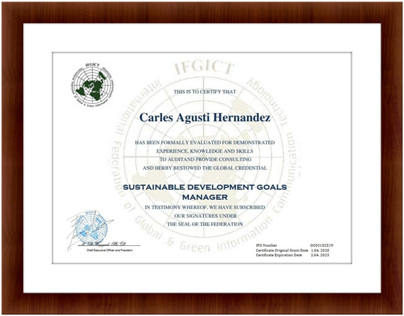 Sustainable Development Goals Managers Certifications by IFGICT