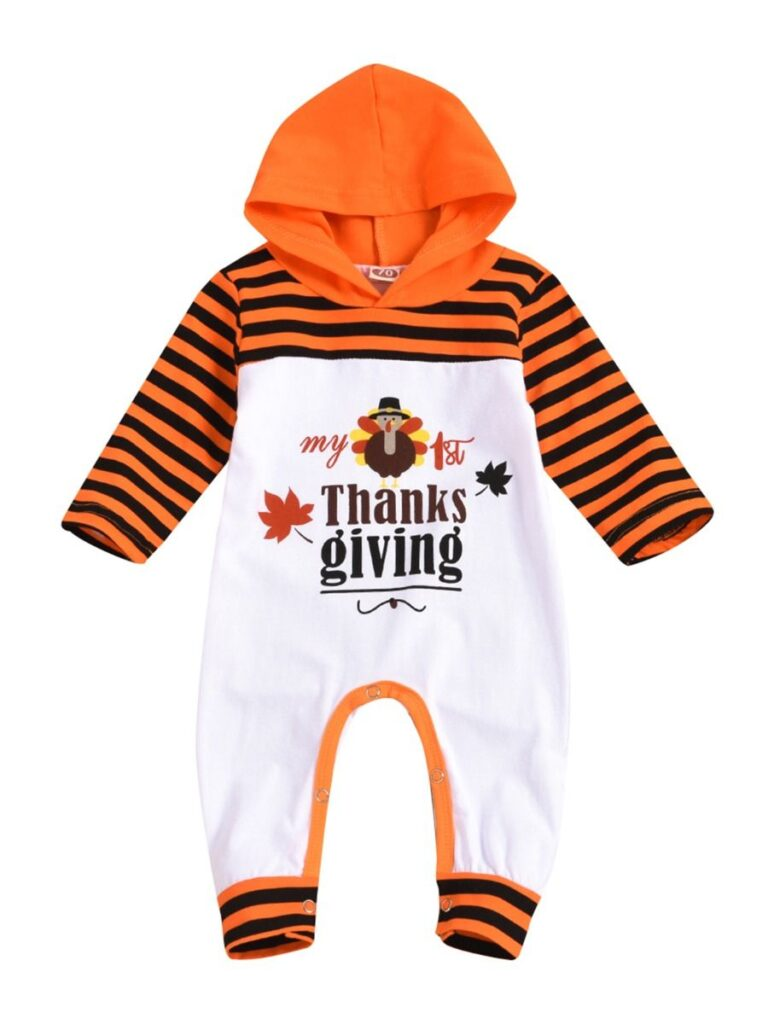 Kiskissing Baby Boy My First Thanksgiving Stripe Hooded Jumpsuit Wholesale