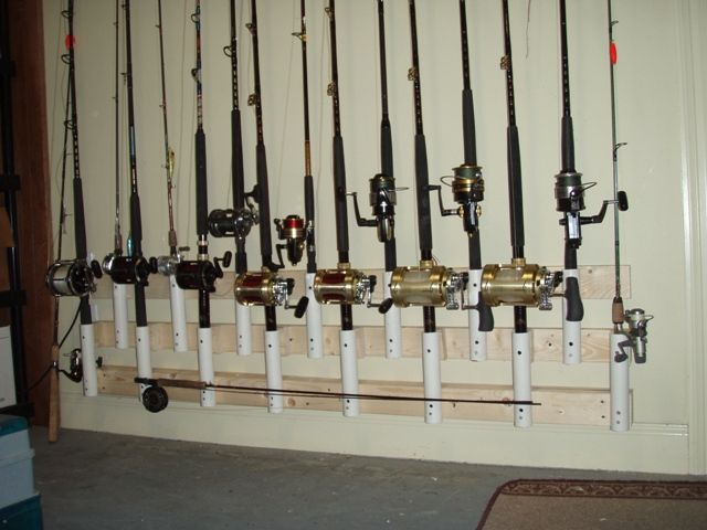 How do you make a PVC fishing rod rack?