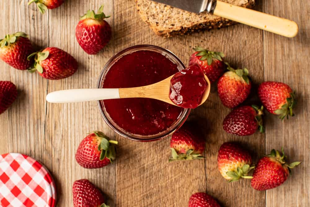 strawberry jam, Savor Yummilicious Strawberry Jam On Bread For Quick Breakfast Or Brunch!